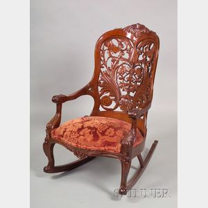 Rococo Revival Carved Rosewood Rocker