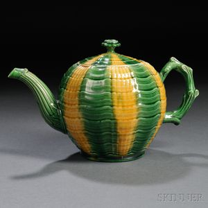 Staffordshire Cream-colored Earthenware Melon-form Teapot and Cover