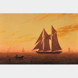 William R. Davis (American, b. 1952)      Sunset on the Banks
