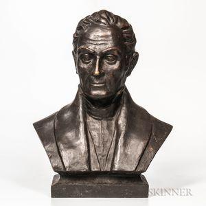Santiago Poletto (Venezuelan, 20th Century)       Bronze Bust Purported to Depict Simon Bolivar