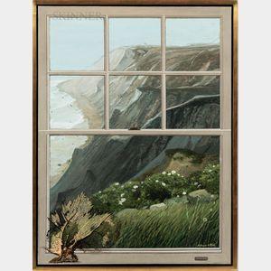 Melbourne (Ewart) Brindle (American, 1904-1995)      Block Island, Mohegan Bluffs, Through Window