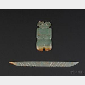 Two Pre-Columbian Jade Carvings