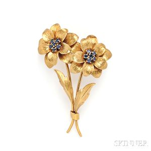 18kt Gold and Sapphire Flower Brooch, Tiffany & Co.
