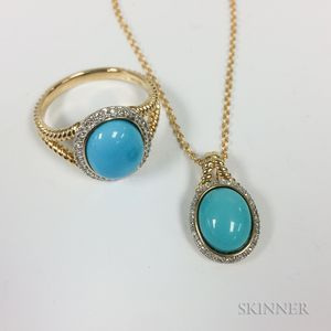 14kt Gold, Turquoise, and Diamond Ring and Pendant