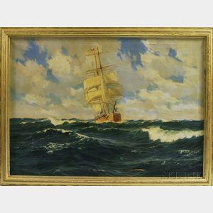 Patrick von Kalckreuth (German, 1892-1970)      Ship at Sea.