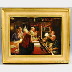 Elaine G. Coffee (American, b. 1941)      The Piano Bar at Christian's