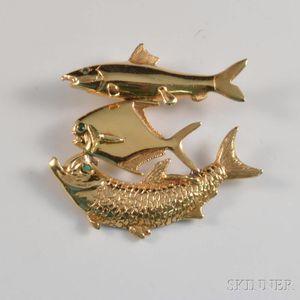 14kt Gold Handmade Fish Pendant
