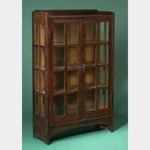 Gustav Stickley Arts and Crafts Oak China Closet