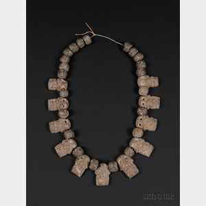 Pre-Columbian Carved Stone Necklace