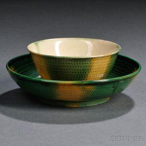 Staffordshire Cream-colored Earthenware Melon Tea Bowl and Saucer