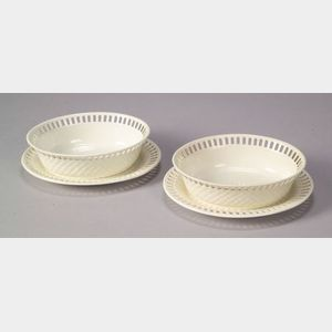 Two Wedgwood Queen's Ware Fruit Baskets with Underplates