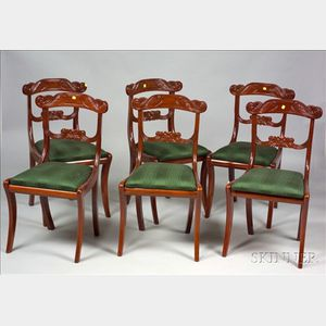 Set of American Empire Carved Mahogany Side Chairs