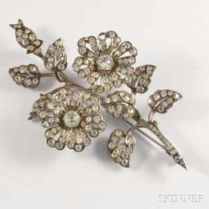 French Paste Floral Brooch