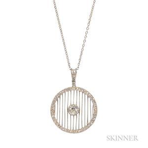 Art Deco Platinum and Diamond Pendant