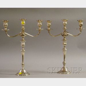 Pair of International Prelude Pattern Sterling Weighted Three-light Candelabra