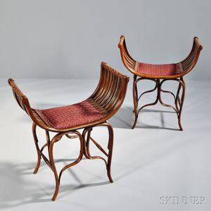 Two Arts and Crafts Bentwood Stools Probably Thonet