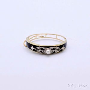 14kt Gold, Enamel, Diamond, and Pearl Bangle