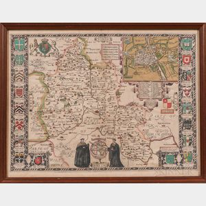 England. John Speed (1551-1629) Oxfordshire Described with ye Citie and the Armes of the Colledges of yt Famous University.