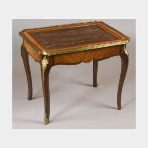 Louis XV Style Marble-top, Gilt Bronze Mounted Tulipwood Low Occasional Table