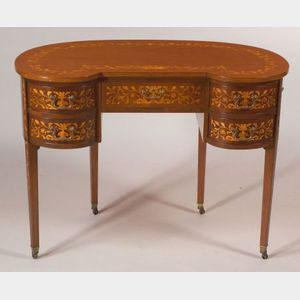 Dutch Fruitwood Marquetry Inlaid Mahogany Writing Table