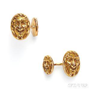 Art Nouveau 14kt Gold Cuff Links, Krementz & Co.