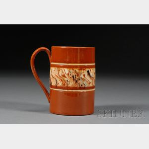 Red Earthenware Mochaware Mug