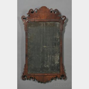 Chippendale Mahogany Veneer Scroll-frame Mirror