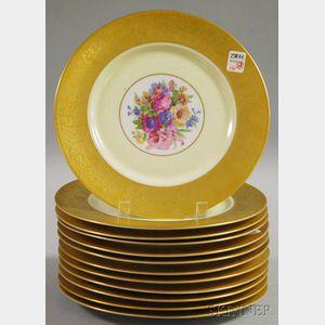 Set of Twelve Heinrich & Co. Hand-painted Porcelain Dinner Plates