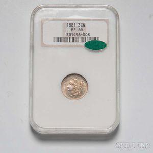 1881 Three Cent Nickel Trime, NGC PF65 CAC.