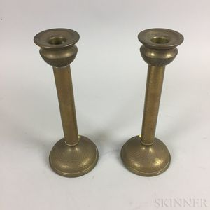 Pair of Hammered Metal-clad Candlesticks