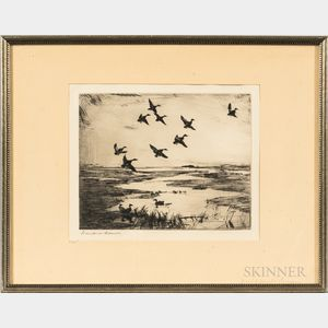 Frank Weston Benson (American, 1862-1951)      Two Images of Waterfowl in Flight:  Ipswich Marshes