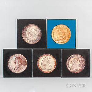 Five Framed New England Rare Coin Galleries Coin Photographs