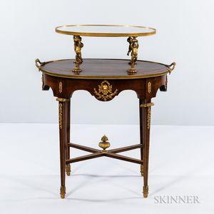 Louis XVI-style Mahogany-veneered Oval Two-tier Table