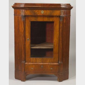 Continental Empire Revival Gilt-bronze Mounted Mahogany Corner Cabinet