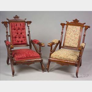 Harlequin Pair of Eastlake Walnut Armchairs