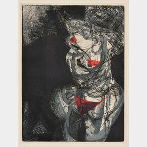 Warrington Colescott (American, b. 1921)      Aphrodite Disrobing