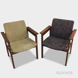 Two Jens Risom Design Mid-century Modern Upholstered Oak Chairs