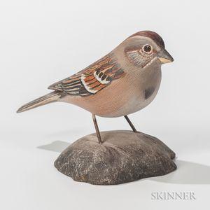 Jess Blackstone Carved and Painted Miniature Tree Sparrow
