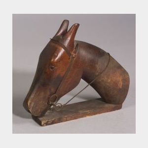Carved Wooden Horse Head Patent Model
