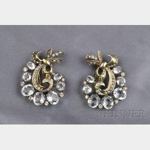 Silver-Gilt and Crystal Rhinestone Clip/Brooches, Eisenberg