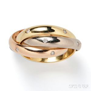 """18kt Gold and Diamond """"Trinity"""" Ring, Cartier"""