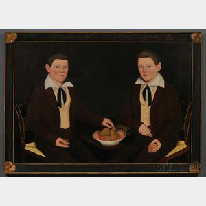 Ammi Phillips (American, 1788-1865) Double Portrait of the Ten Broeck Twins, Jacob Wessel Ten Broeck (1823-1896) and William Henry Ten