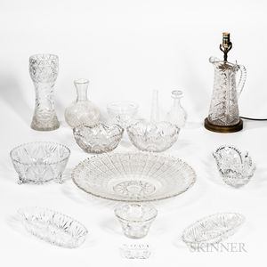 Large Group of Colorless Glass Tableware