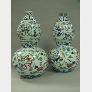 Pair of Japanese Decorated Double Gourd Porcelain Vases.