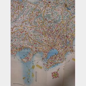 Japanese Colored Woodblock Printed Folding Map.