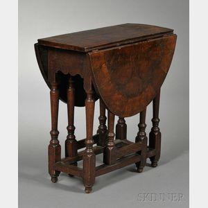 William & Mary-style Oyster-veneered Gate-leg Table