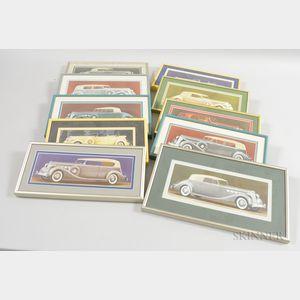 Ten Framed 1936 Packard Car Prints