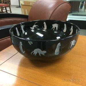Black Cut-to-clear Art Glass Cat Bowl
