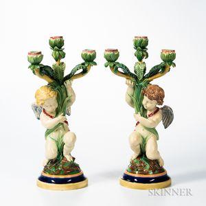 Pair of Copeland Majolica Figural Candelabra