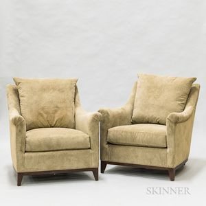 """Pair of Hickory Chair Co. Overupholstered """"Madeline Looseback"""" Chairs"""